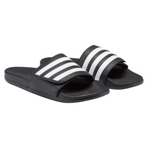 adidas Men's Black Logo Stripe Slide Sandal
